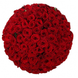101 red roses in a hat box