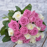 25 Pink and white roses