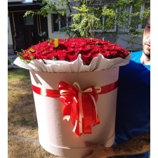 101 red roses in a box