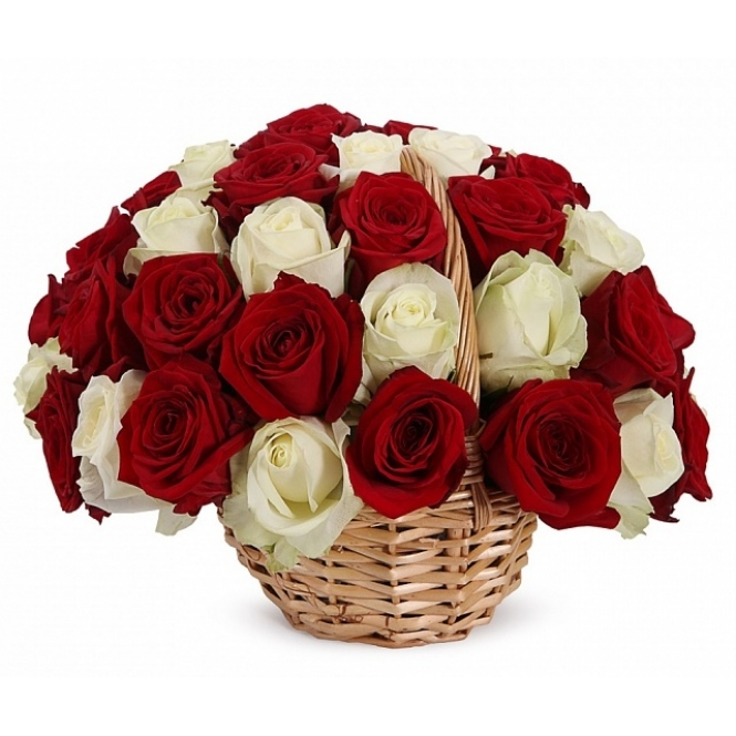 "Basket ""of 35 red and white roses"""