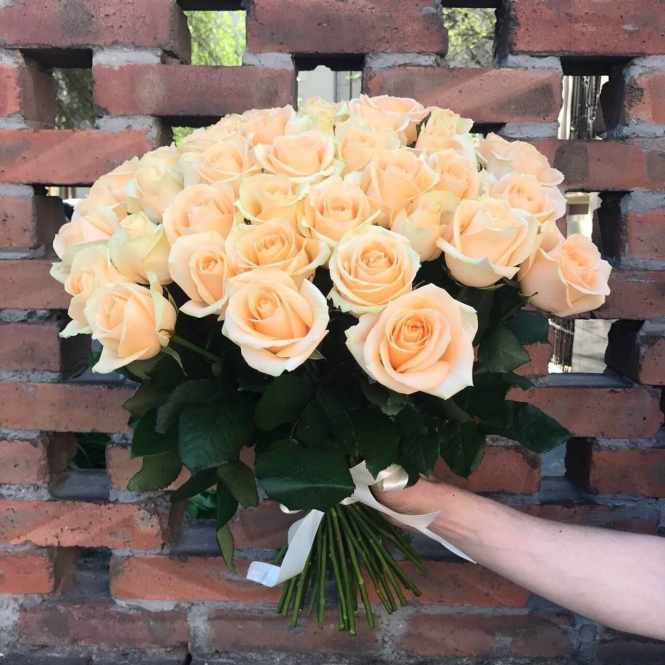 35 Кремових троянд